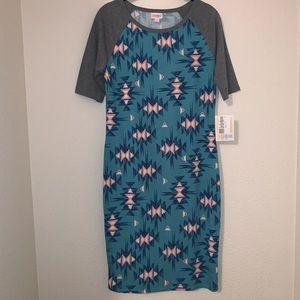 LuLaRoe Small Julia Dress Gray Turquoise Aztec